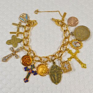 Handmade Religious Charm Bracelet Goldtone Medals